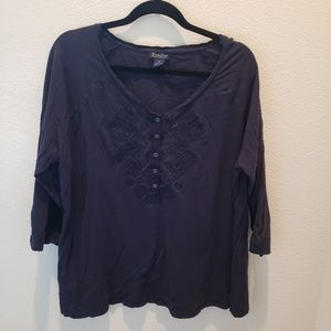 LUCKY BRAND Navy Embroidered Blouse
